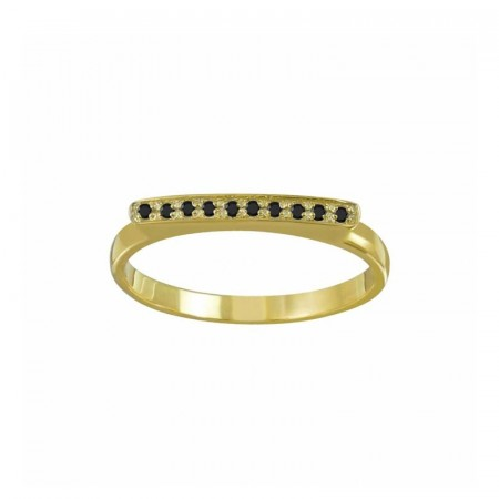 Lucy gold bar black cubic zirconia ring
