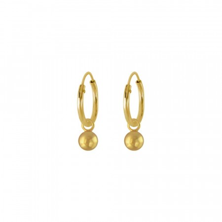 Ball charm hoop earrings petite