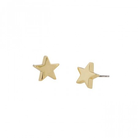 Small star ear plain gold
