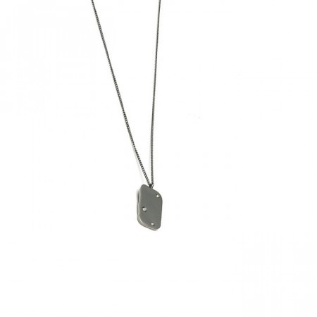 Raw diamond necklace small rhodium