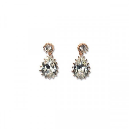 Droplet earring clear/rose gold