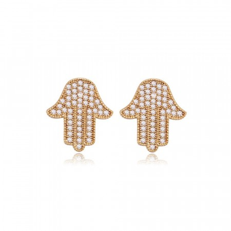 Hamsa hand earrings gold edition