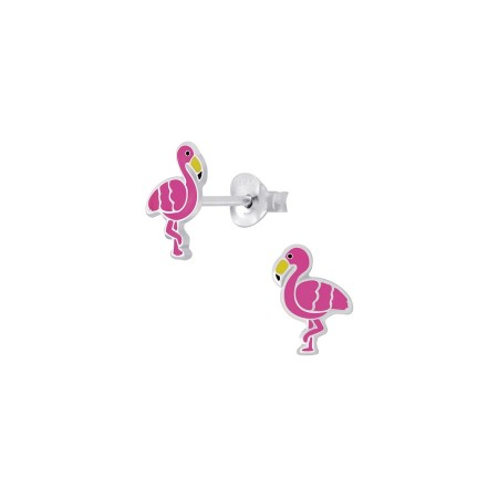 Petite flamingo stud silver earrings