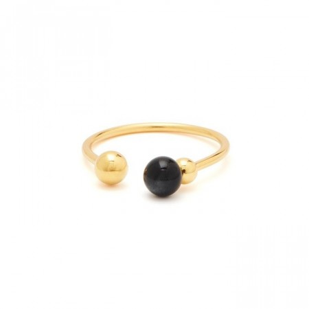 Pearl on strings ring black/gold